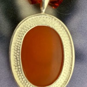 OGT Couture Jewelry - Sterling Skull Cameo & Amber Glass Necklace